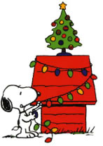 snoopy decorating his house